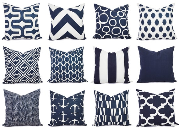 Two Navy and White Pillow Covers - 16 x 16 Inch Navy Blue Throw Pillow Cover - Decorative Pillow Cushion Cover Navy Blue Pillows