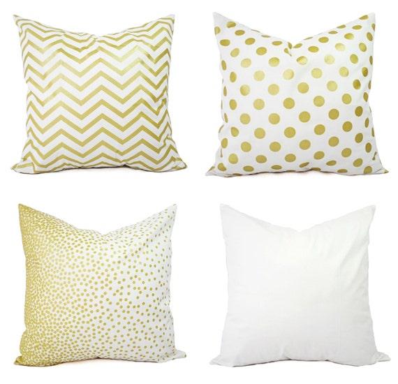 Gold Decorative Pillow Covers : Metallic Gold Pillow Covers 18 inch Pillow by CastawayCoveDecor