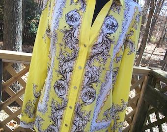 Vintage Italian Designer Inspired Silk Blend Misses Shirt - Size 8 - 10