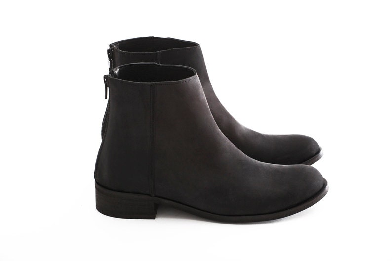 black boots boots small heels shoes by unaunashoes