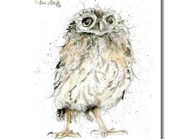 Owl Tea Towel - 100% cotton, bird kitchen gift, owl lover gift, woodland theme