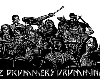 12 Drummers Drumming linocut Christmas cards - pack of 5