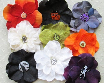 Halloween Mini Hair Flower Clips/Pins or Shoe Clips - 10 Colors/Styles!