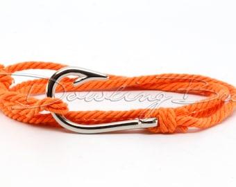 Orange Cotton Rope Fish Hook Bracelet