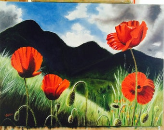 "Art greeting cards ""Poppies in sunlight"""