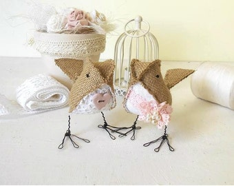 Burlap Wedding Cake Topper Love Birds Fabric soft sculptures rustic pink white Woodland Shabby Chic