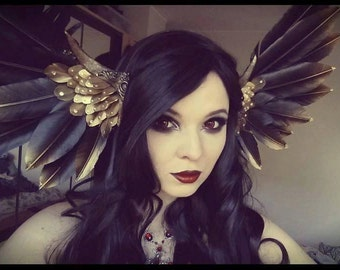 Deluxe Black Gold Valkyrie Wing headdress MADE TO ORDER