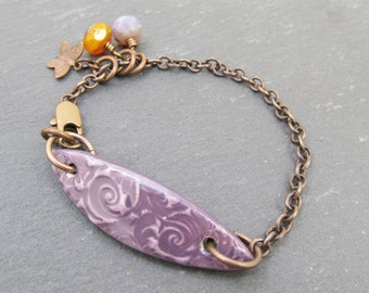 Artisan bracelet, rustic bracelet, Vintaj jewelry, skinny bracelet