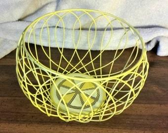 Retro Yellow Wire Basket