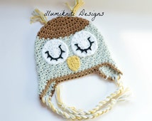 Ready to Ship - Sleeping Owl Baby Hat - Crochet Size 3 to 6 Months