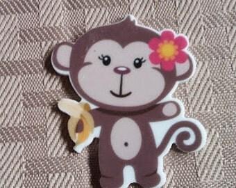 Monkey resin- Monkey applique- bow centers-crafting monkey