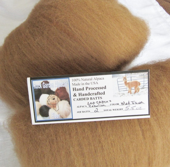Hand Processed and Handcrafted - 100% Natural Medium Fawn Alpaca Fiber Carded Batt 2 Pack 5.5 oz.