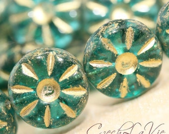Czech Glass Flower 15mm - Green Translucent with Gold Inlay Finish (60210)