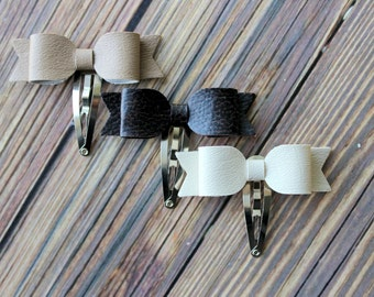 Faux leather bow snap clips - baby, toddler, girls hair clips