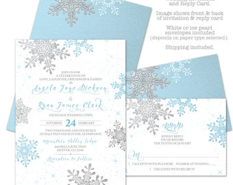 Ice Blue Silver White Snowflake Winter Wedding Invitation and RSVP Reply Card Printed