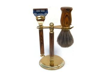 Gillette Fusion Razor Bocote Wood Shaving Set 24k Gold Finish, Badger Hair Brush and Shaving Stand