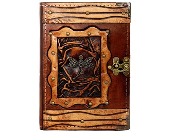 Dragonfly Pendant On A Brown Leather Journal / Notebook / Diary / Sketchbook / Leatherbound