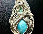Feb SALE Larimar and Blue Topaz. Heady Sterling Silver Wire Wrapped Pendant