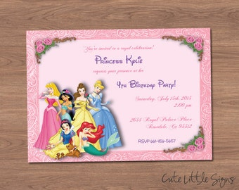 Disney Princess Birthday Invitation Digital Download