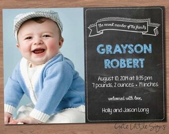 Chalk Boy Birth Announcement