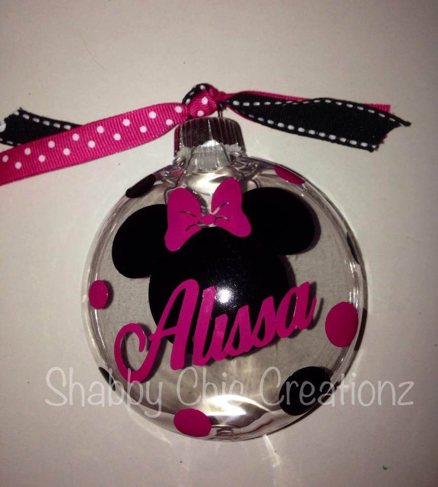 Minnie Mouse Bow Ornaments Christmas Personalized Name