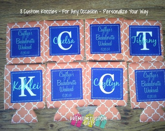 8 Custom Personalized Can Coolers  - Wedding Favors - Wedding Favor - Birthday Can Cooler - Design#KH176
