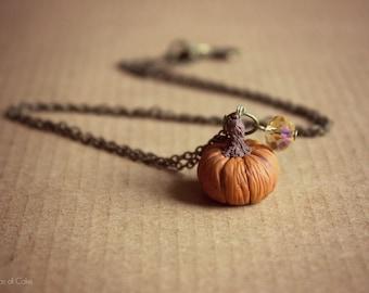 Pumpkin necklace, miniature halloween jewelry, vintage rustic style necklace