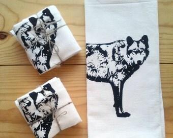 Wolf Tea Towel - Flour Sack Towel