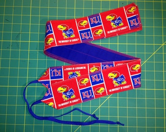 KU University of Kansas Red and Blue Jayhawk Rock Chalk cross fit Wrist Wraps