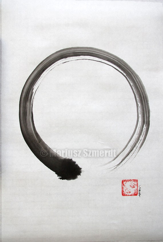 Original Enso Zen Painting Throw Pillows: Enso Zen Cerchio Originale Pittura Inchiostro Giapponese