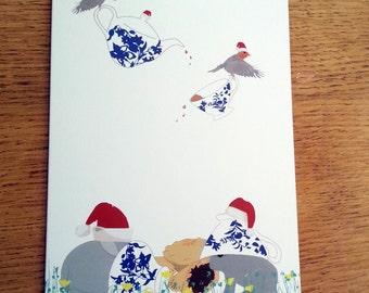 Bunny Christmas Card, Animal Card, Mince Pies, Woodland Christmas, Greetings Card, cute card, blank card, Christmas Robin, Christmas Cards,