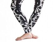 Yoga Pants Pattern Christmas Leggings Winter Leggings,  Black & White Leggings  Workout Leggings  Women Leggings