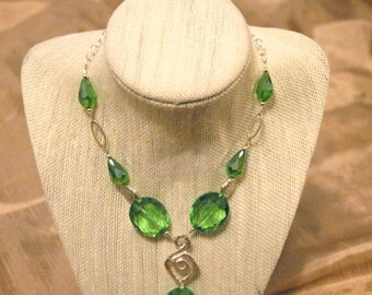 Handmade Green Crystal and Brushed Silver Necklace