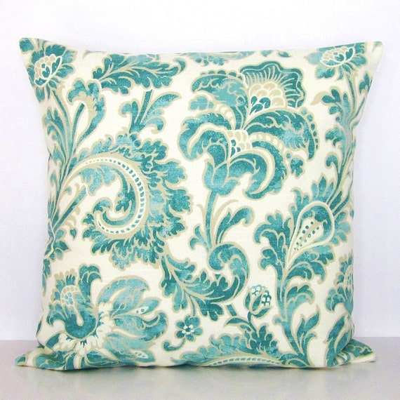 Sale Turquoise Aqua Teal Floral Pillow Cover Seafoam Green