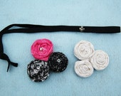 2 in 1 Interchangeable non-slip headband with fabric rosettes that will fit any age from babies to adults