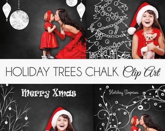 "Holiday Tree Clipart ""HOLIDAY TREE CHALK"" 25 chalk clipart, tree, chalk ornaments overlay, use on or over photos, photographers, xmas cards"