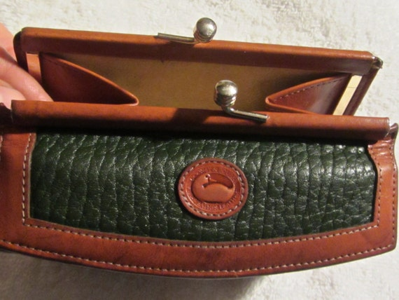 Vintage Dooney And Bourke Wallet Emerald Green And Brown All
