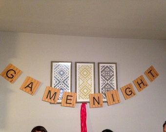 GAME NIGHT BANNER resembles Scrabble Tiles - Instant Download & Personalization available!