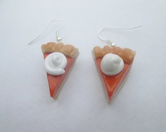 WHOLESALE Pumpkin pie earrings, polymer clay Christmas earrings, children's earrings, Christmas jewelry, miniature food, Thanksgiving
