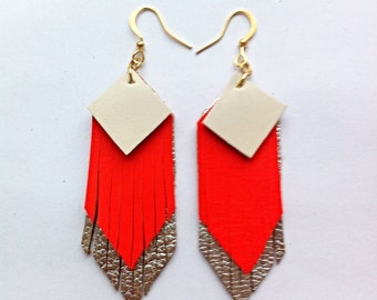 Fringed geometric tassel eco leather earrings, in white, neon orange and silver leather hand-cut layers