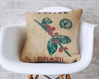 Burlap pillows, decorative pillow, throw pillow cover, Authentic Dunn Bros Coffee, burlap bag
