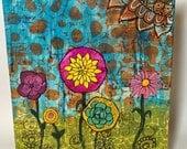 "Spring Flower Garden - 8"" x 10"" mixed media original, jewel tones, Doodle, collage, zentangle, Birthday gift, graduation gift, Mother's Day"