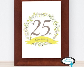 25th Anniversary Sign - 8X10 - Instant Download - Ceremony Decor - Milestone Print - Anniversary Print - Wedding Anniversary - Event Sign