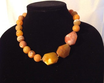 Orange Agate Necklace with three nuggets