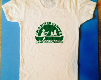 Original band t-shirt by the band The Countdown from Chicago Camp Countdown white and green