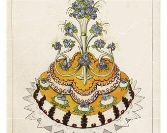 Original Antique Culinary Art Print  Stunning Wedding Cake