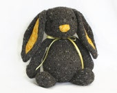 Hand Knit Bunny Rabbit  Grey Tweed Yellow Gold Collectible Children's Toy Alpaca Wool Stuffed Plush