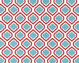 1/2 or 1 yard fabric -Home Decor Fabric -Premier Prints Curtis Caramine Red, Blue