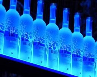 """40"""" Wall Mount bar bottle shelf, 3' 4"""" LIquor shelves, LED Lighted Bottle Shelf"""