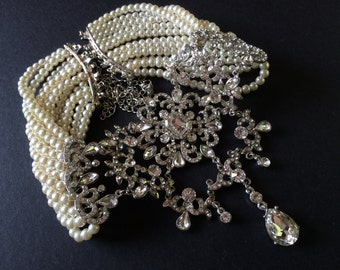 Victorian Style Wedding Jewelry Rhinestone Crystals and Pearls Lovely Bridal Choker Necklace